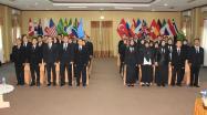 Peserta berjumlah 40 orang menyanyikan lagu Indonesia Raya saat acara pembukaan Diklat Pim IV angkatan XXVI